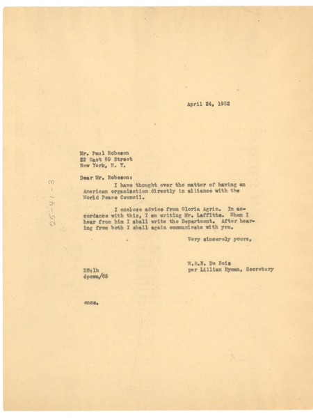 Letter from Lillian Hyman to Paul Robeson, April 24, 1952