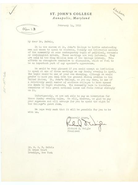 Letter from St  John's College to W  E  B  Du Bois, February