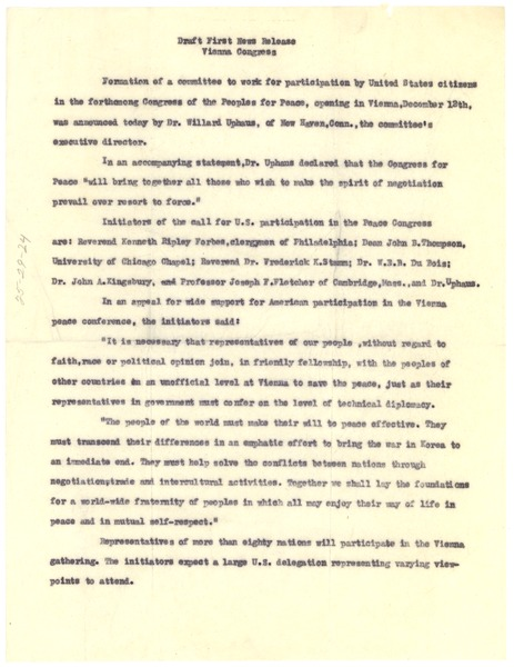 Draft first news release on Vienna Congress, ca. November 1952