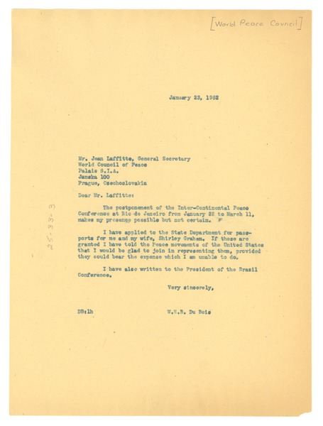 Letter from W. E. B. Du Bois to World Peace Council, January 23, 1952