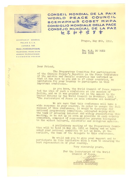 Circular letter from World Peace Council to W. E. B. Du Bois, May 8, 1952