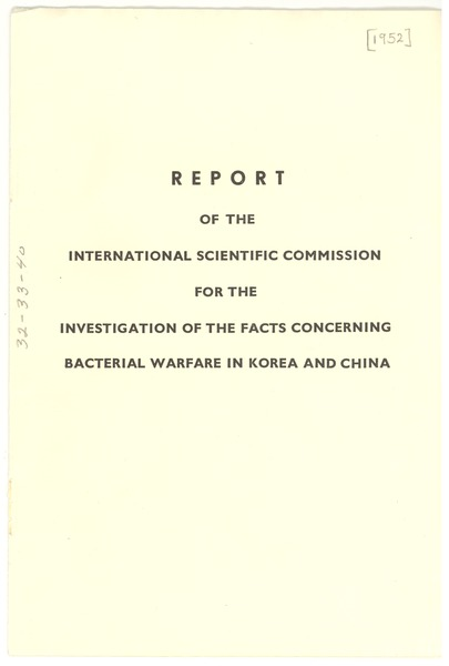 Report of the international scientific commission for the investigation of the