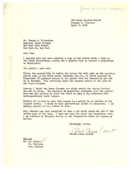 Letter from Robert Morss Lovett to American Peace Crusade, April 2, 1953