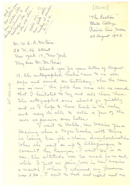 Letter from Virginia Banks to W. E. B. Du Bois, August 24, 1953
