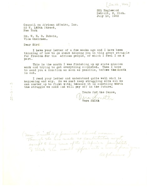 Letter from Vera Smith to the Council on African Affairs, July 16, 1953