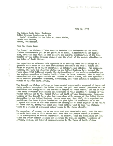 Letter from Council on African Affairs to Herman Santa Cruz, July 23, 1953