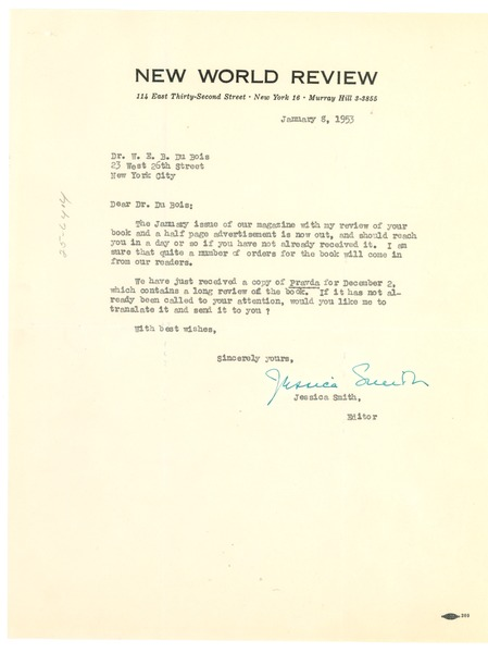 Letter from New World Review to W. E. B. Du Bois, January 8, 1953