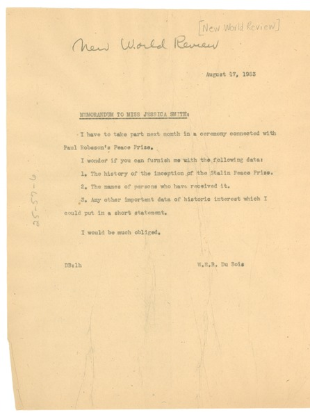 Memorandum from W. E. B. Du Bois to New World Review, August 17, 1953