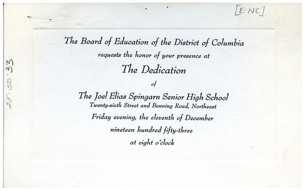 invitation to spingarn high school award ceremony december 1953