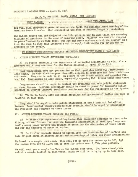 Emergency Action Memo, April 8, 1954