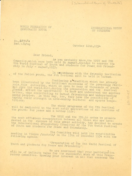 Circular letter from International Union of Students to W. E. B. Du Bois, October 12, 1954