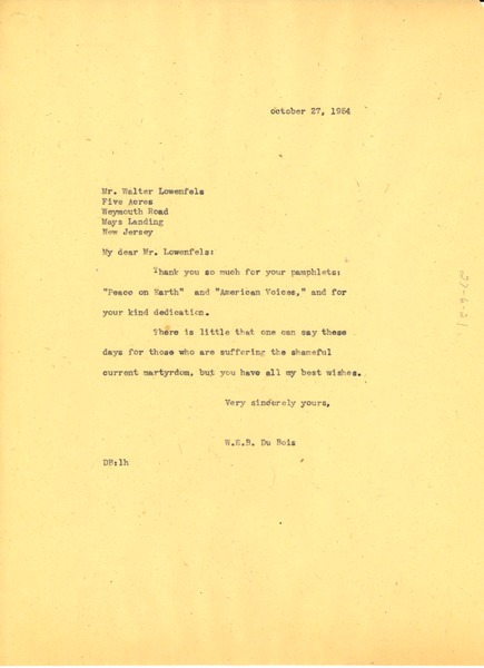 Letter from W. E. B. Du Bois to Walter Lowenfels, October 27, 1954