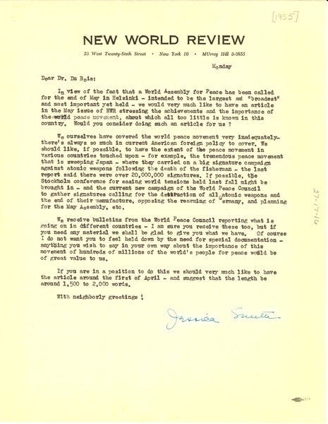 Letter from New World Review to W. E. B. Du Bois, ca. March 21, 1955