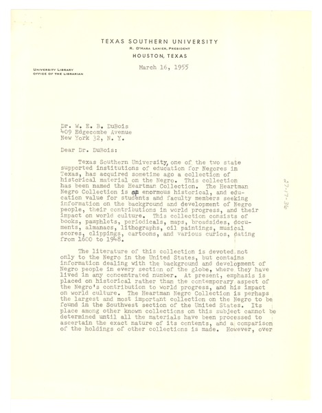 Letter from Texas Southern University Library to W. E. B. Du Bois, March 16, 1955