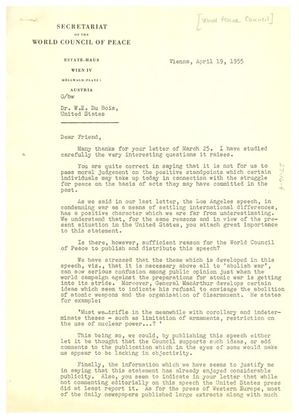 Letter from World Council of Peace to W. E. B. Du Bois, April 19, 1955