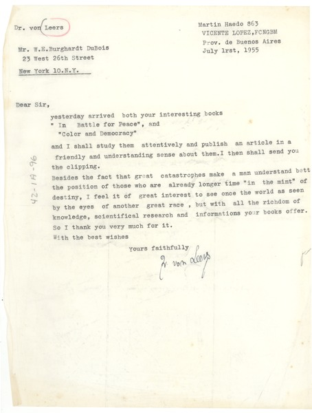Letter from Johann von Leers to W. E. B. Du Bois, July 1, 1955