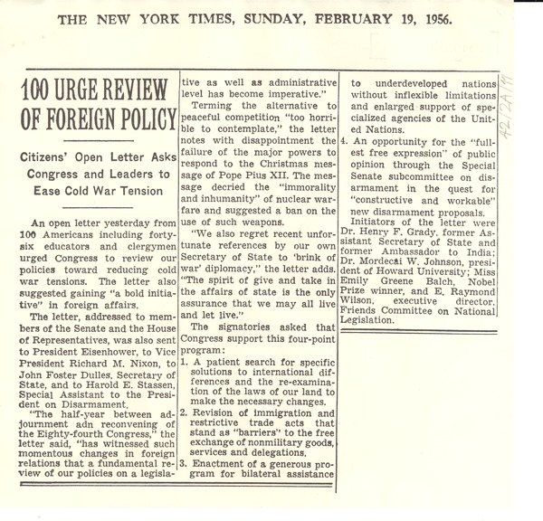 100 urge review of foreign policy, February 19, 1956