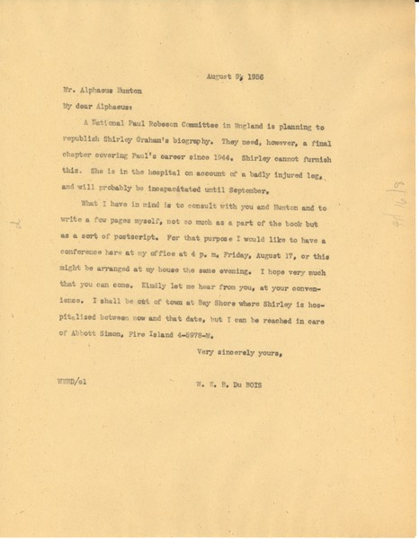 Letter from W. E. B. Du Bois to Aphaeus Hunton, August 9, 1956