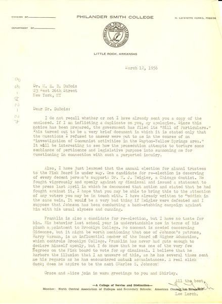 Letter from Lee Lorch to W. E. B. Du Bois, March 12, 1956
