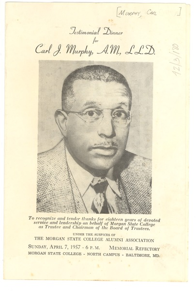 Carl J. Murphy Testimonial Dinner program, April 7, 1957