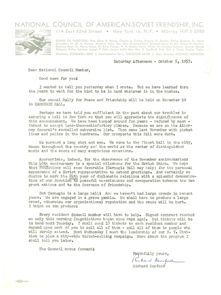 Circular letter from National Council of American-Soviet Friendship to W. E. B. Du Bois, October 5, 1957