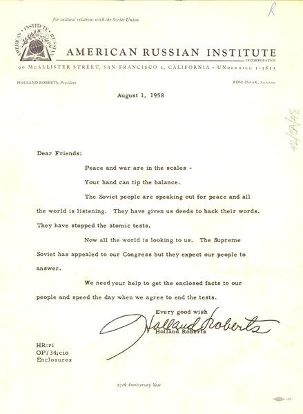 Circular letter from American Russian Institute to W. E. B. Du Bois, August 1, 1958