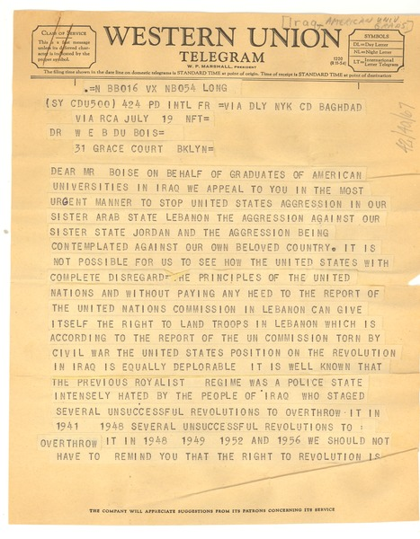 Telegram from graduates of American universities in Iraq to W. E. B. Du Bois, July 19, 1958
