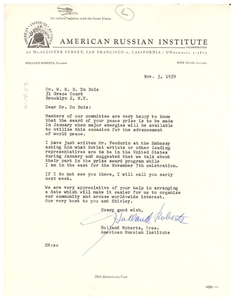 Letter from Holland Roberts to W. E. B. Du Bois, November 3, 1959