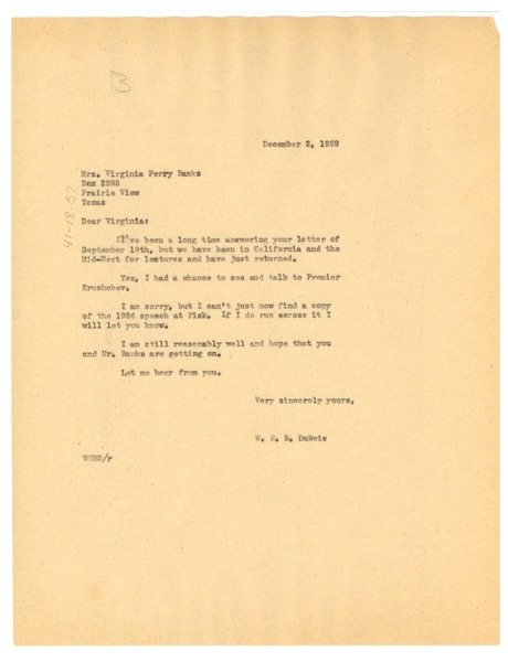 Letter from W. E. B. Du Bois to Glovina Virginia Perry Banks, December 2, 1959