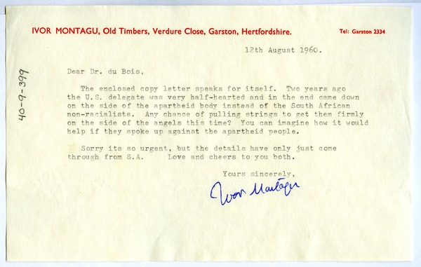 Letter from Ivor Montagu to W. E. B. Du Bois, August 12, 1960