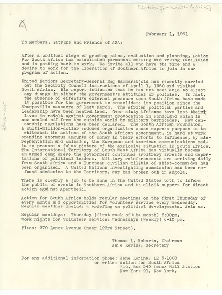 Letter from Action for South Africa to W. E. B. Du Bois, February 1, 1961