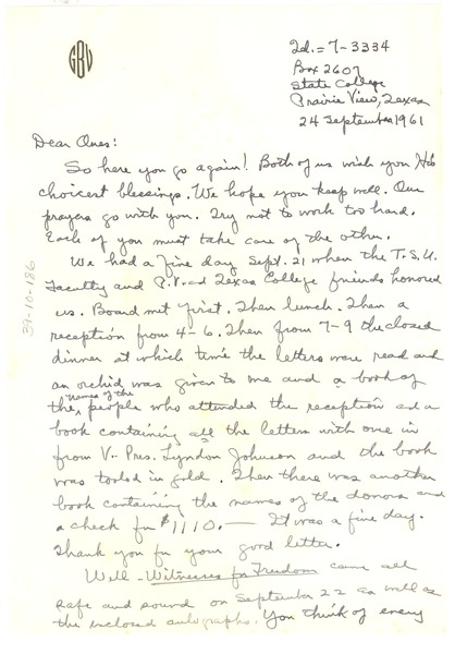Letter from W. R. and Glovina Virginia Perry Banks to Shirley and W. E. B. Du Bois, September 24, 1961