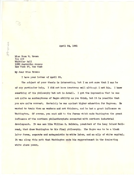 Letter from W. E. B. Du Bois to Emma W. Brown, April 24, 1961