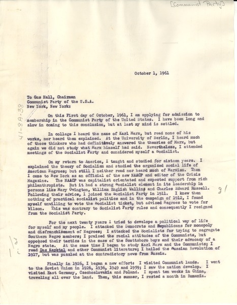 Letter from W. E. B. Du Bois to Communist Party of the U.S.A., October 1, 1961
