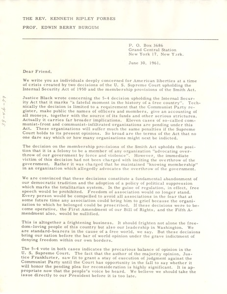 Circular letter from Kenneth Ripley Forbes and Edwin Berry Burgum to W. E. B. Du Bois, June 30, 1961