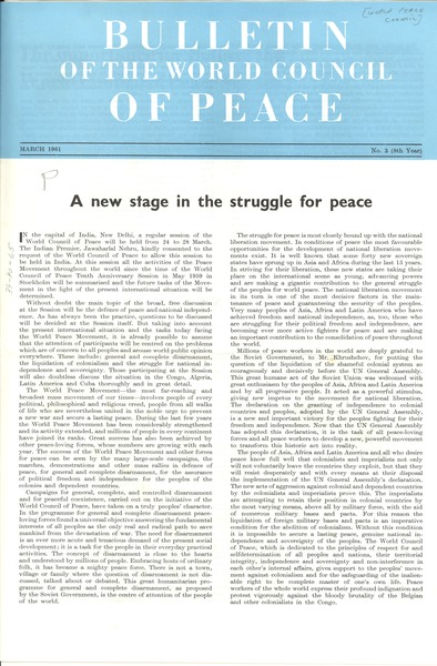 Bulletin of the World Peace Council, number 3, March 1961