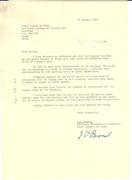 Letter from World Peace Council to W. E. B. Du Bois, October 17, 1961
