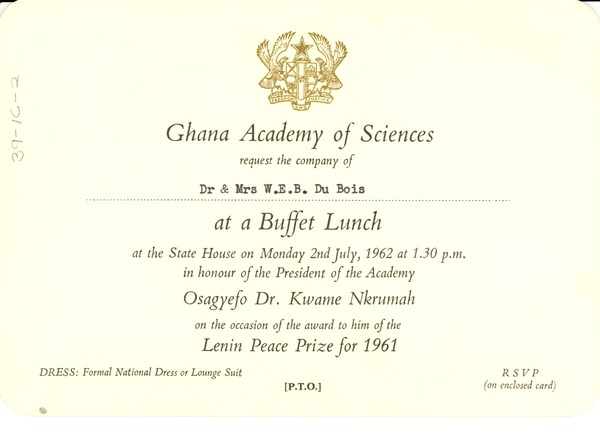 Buffet lunch invitation 1962