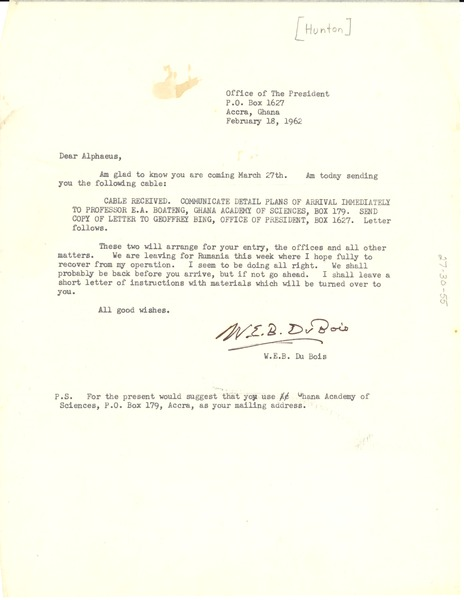 Letter from W. E. B. Du Bois to Alphaeus Hunton, February 18, 1962