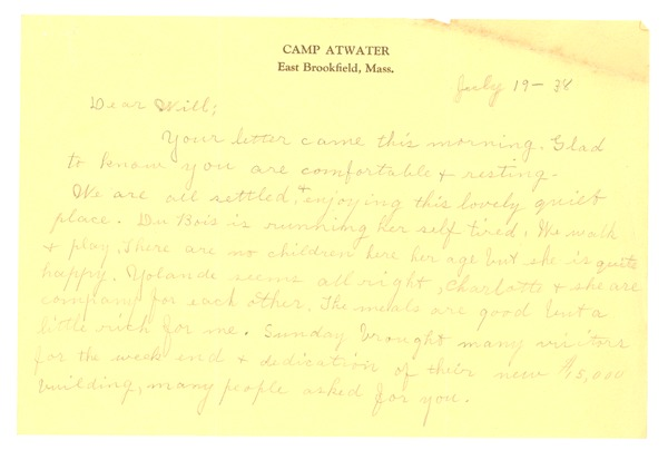 Letter from Nina Du Bois to W. E. B. Du Bois, July 19, 1938