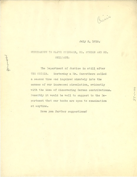 Memorandum from the Crisis to Charles H. Studin, July 3, 1918