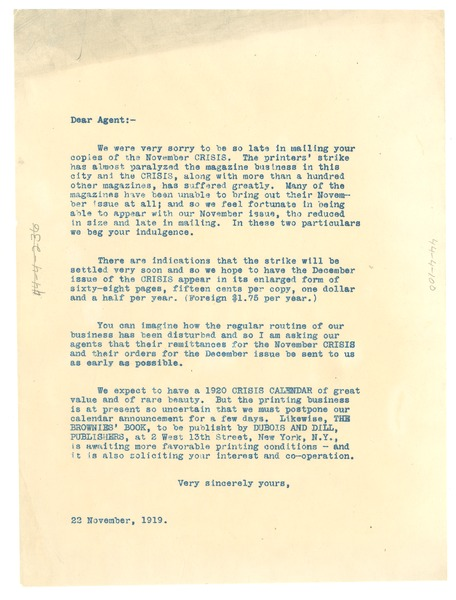 Circular letter from W. E. B. Du Bois to unidentified correspondent, November 22, 1919