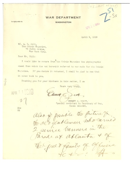 Letter from United States War Dept. to Crisis, April 9, 1919