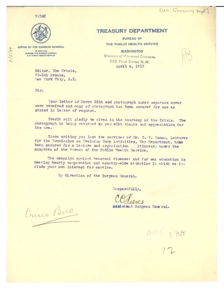Letter from United States Surgeon General to Editor of the Crisis, April 4, 1919