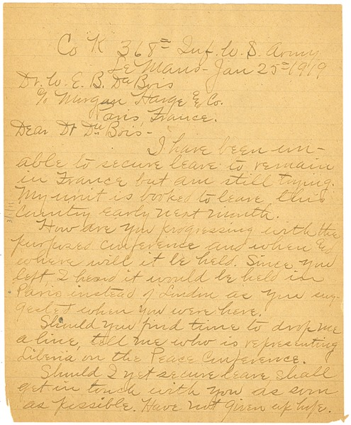 Letter from William H. York to W. E. B. Du Bois, January 25, 1919