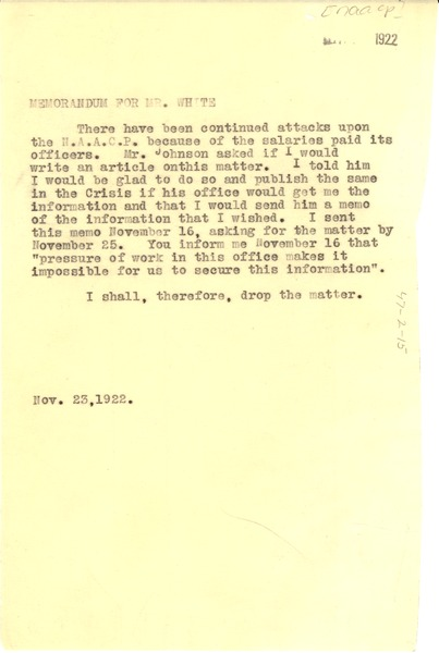 Memorandum from W. E. B. Du Bois to Walter White, November 23, 1922