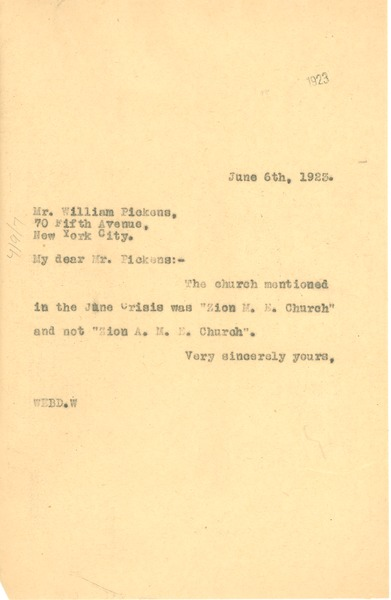 Letter from W. E. B. Du Bois to William Pickens, June 6, 1923