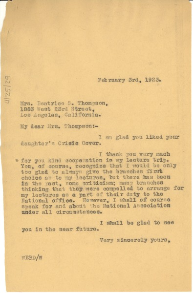 Letter from W. E. B. Du Bois to Beatrice S. Thompson, February 3, 1923