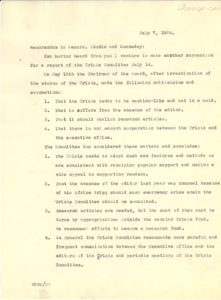 Memorandum from W. E. B. Du Bois to N.A.A.C.P., July 7, 1924