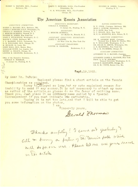Letter from Gerald F. Norman to W. E. B. Du Bois, September 19, 1925